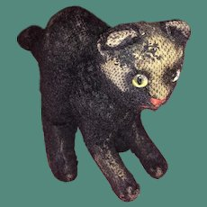 Antique Mohair Straw Stuffed German Blown Glass Eyed Black Cat