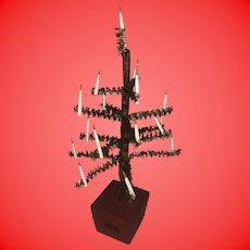 Antique German Rare Miniature Wound Tinsel Lit Candles Stencil Base Christmas Tree