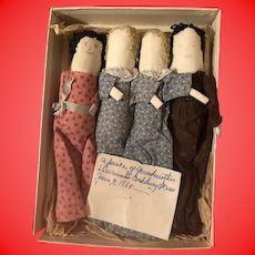 Antique American Folk Art Pencil Face Rolled Corn Cobb Dolls With Calico Dress As Found