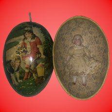 Antique German Lithogragh Paper Mache Candy Container Egg With Molded Hair German Dollhouse Doll