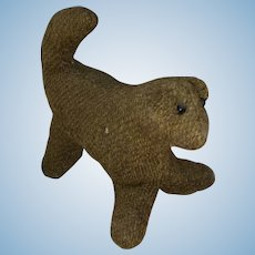 Antique American Folk Art Pa Tweed Cloth Doggy
