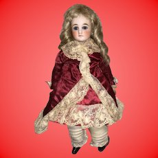 Antique Rare Early 19th Century Cabinet Size Glass Eye Bisque Head Kid Gusseted Body Belton Type Fashion Doll