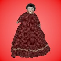 "Antique German Unusual Hairstyle Blue Eyes 8"" China Head Doll"