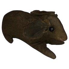 Antique Folk Art Felted Shoe Button Eye Bunny Rabbit Figural Cloth Toy