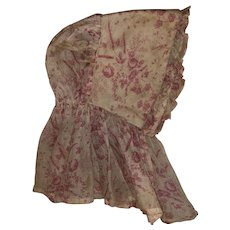Antique Toile Early 19th Century Doll Bonnet