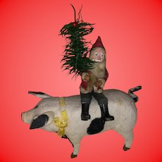Antique Rare German Felted Winging Musical Pig With Sitting Santa