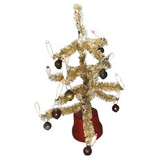 Old Vintage Ecru Colored Bottle Brush Feather Type Christmas Tree With Lit Candles