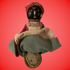 Antique American Folk Art Rare Cloth Topsy Turvy Doll