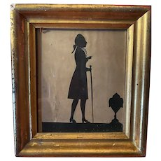 Antique 19th Century Hand Cut Gentleman Silhouette In Gold Gilt Original Frame