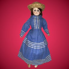 Antique German Gebruder Kuhnlenz Early Cabinet Size Rare Fashion Doll With Kid Gusseted Body