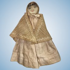 Antique American Folk Art Stockinette Clothes Pin Pocket Doll