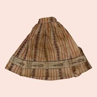 Antique Early Calico 19th Century Hand Done Doll Skirt