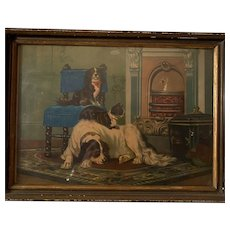 Antique Early Original Frame Colored Victorian Lithograph