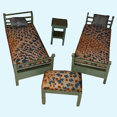 Antique German Dollhouse Miniature Painted Sleigh Twin Bed Bedroom Set Ensemble