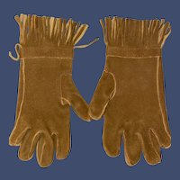 Antique Suede Miniature Child's Fashion Gloves