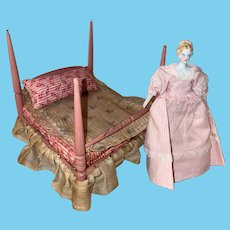 Antique German Wooden 4 Poster Painted Dollhouse Tester  Miniature Bed