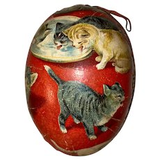 Antique German Lithograph Kitty Cat Miniature Paper Mache Easter Egg Candy Container