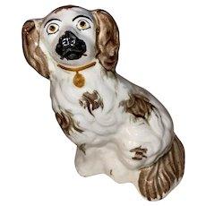Antique Staffordshire Porcelain Spaniel Dog