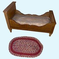 Antique German Wooden Dollhouse Miniature Doll Bed With Original Ticking Mattress