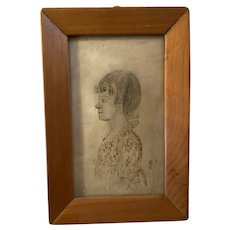 Antique Early Pencil Sketch Ink Colored American Folk Art Portrait