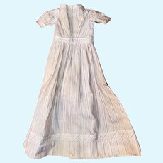 Antique 19th Century Cotton Pin Stripe Early Doll Dress
