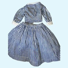 Antique 2 Piece Pin Striped Early Hand Sewn Doll Skirt And Blouse