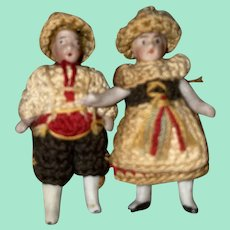 Antique German Rare Carl Horn Set Of Two Dolls With Crotchet Outfits and Hats