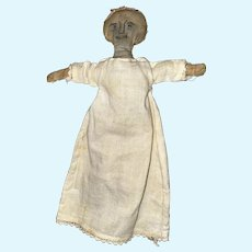 "Antique 8-1/2"" Pencil Face Hand Held Cloth Rag Pocket Doll"