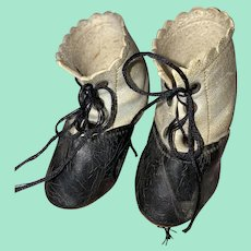 Antique Two Tone Leather 19th Century Lace Up Fashion Doll  Shoes