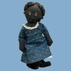 Antique American Folk Art Blue Eyed Stitched Face Cloth Rag Doll