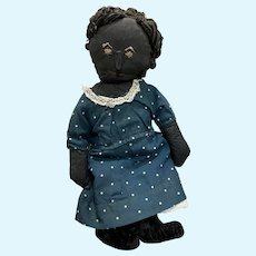 Antique American Folk Art Blue Eyed Stitched Face Cloth Rag Doll