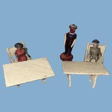 Antique German Erzgebirge Rare Miniature Wooden Figures