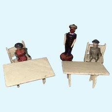 Antique German Erzgebirge Rare Miniature Wooden Figures