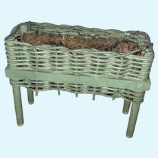 Antique German Miniature Dollhouse Wicker Painted Flower Box Stand