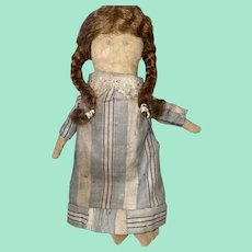 Antique American Folk Art Miniature Pencil Face Cloth Rag Doll With Mohair Wig