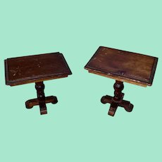 Antique Miniature Dollhouse Country Victorian Turned Post Side Tables