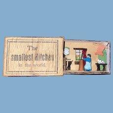 "Antique Miniature Erzgebirge Matchbox Penny Toy ""The Smallest Kitchen In The World"" Miniature Kitchen"