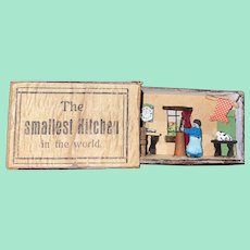 "Antique Miniature Erzgebirge Matchbox Penny Toy ""The Smallest Kitchen In The World"" Miniature Kitchen"