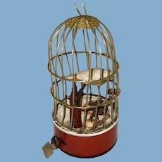 Antique Windup Rare Celluloid Toy Birdcage