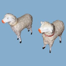 Antique German Pair Of Felted Stick Leg Sheep
