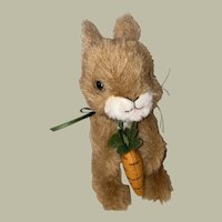 Steiff Plush Button Eye Bunny Holding His Felted Carrot