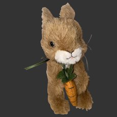 Steiff Plush Button Eye Bunny Holding His Felted Carrot
