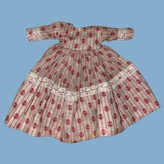 Antique Pink Calico Dress For A Miniature Doll