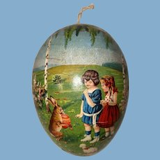 Antique Victorian Early Lithograph Paper Mache Easter Egg