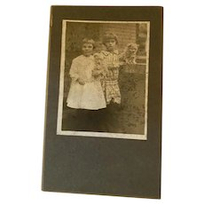 Antique Victorian Cabinet Photo Sisters With Their Puppies