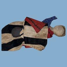 Antique American Folk Art Early Painted Face  New England Topsy Turvy Cloth Rag Doll