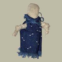 Antique American Folk Art Miniature Cloth Primitive Clothes Pin Doll