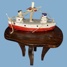 Old Wooden Painted Miniature Dollhouse Miniature Showboat Figural Toy