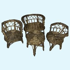 Old Vintage Wicker Miniature Doll Furniture Set Ensemble