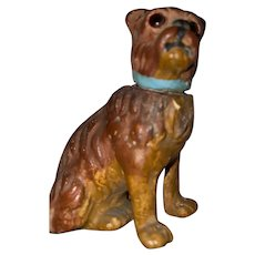 Antique German Paper Mache Rare Miniature Glass Eyed Dog Candy Container
